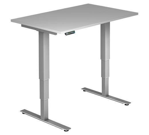 SCHREIBTISCH - Silberfarben/Grau, KONVENTIONELL, Holzwerkstoff/Metall (120/63,5-128,5/80cm)