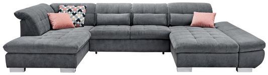 WOHNLANDSCHAFT in Textil Grau - Chromfarben/Grau, Design, Kunststoff/Textil (211/350/204cm) - Xora