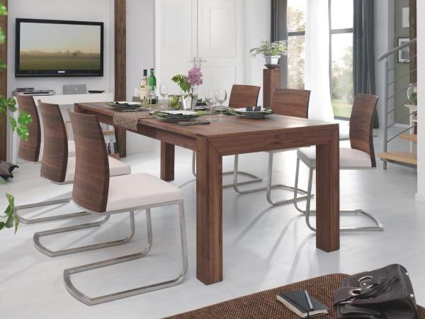 ESSTISCH Nussbaum massiv Nussbaumfarben - Nussbaumfarben, Design, Holz (200(320)/76/95cm) - CASSANDO