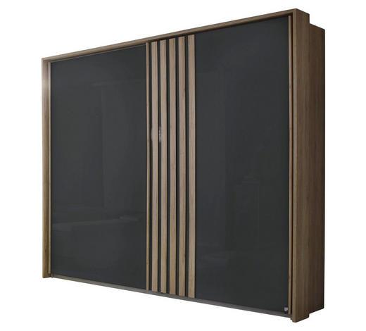 SCHWEBETÜRENSCHRANK in Anthrazit, Eichefarben - Eichefarben/Anthrazit, Design, Holzwerkstoff/Metall (226/210/62cm) - Carryhome