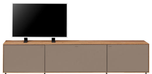 TV-ELEMENT Kerneiche massiv Eichefarben, Fango - Fango/Eichefarben, Design, Glas/Holz (204/42/49cm) - Valnatura