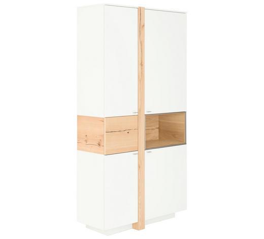 VITRINE Eiche furniert Weiß, Eichefarben  - Edelstahlfarben/Eichefarben, Design, Glas/Holz (108/214/43cm) - Venjakob