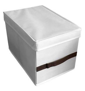 HOPFÄLLBAR FÖRVARINGSKORG - vit/brun, Basics, papper/textil (50/24/38cm)