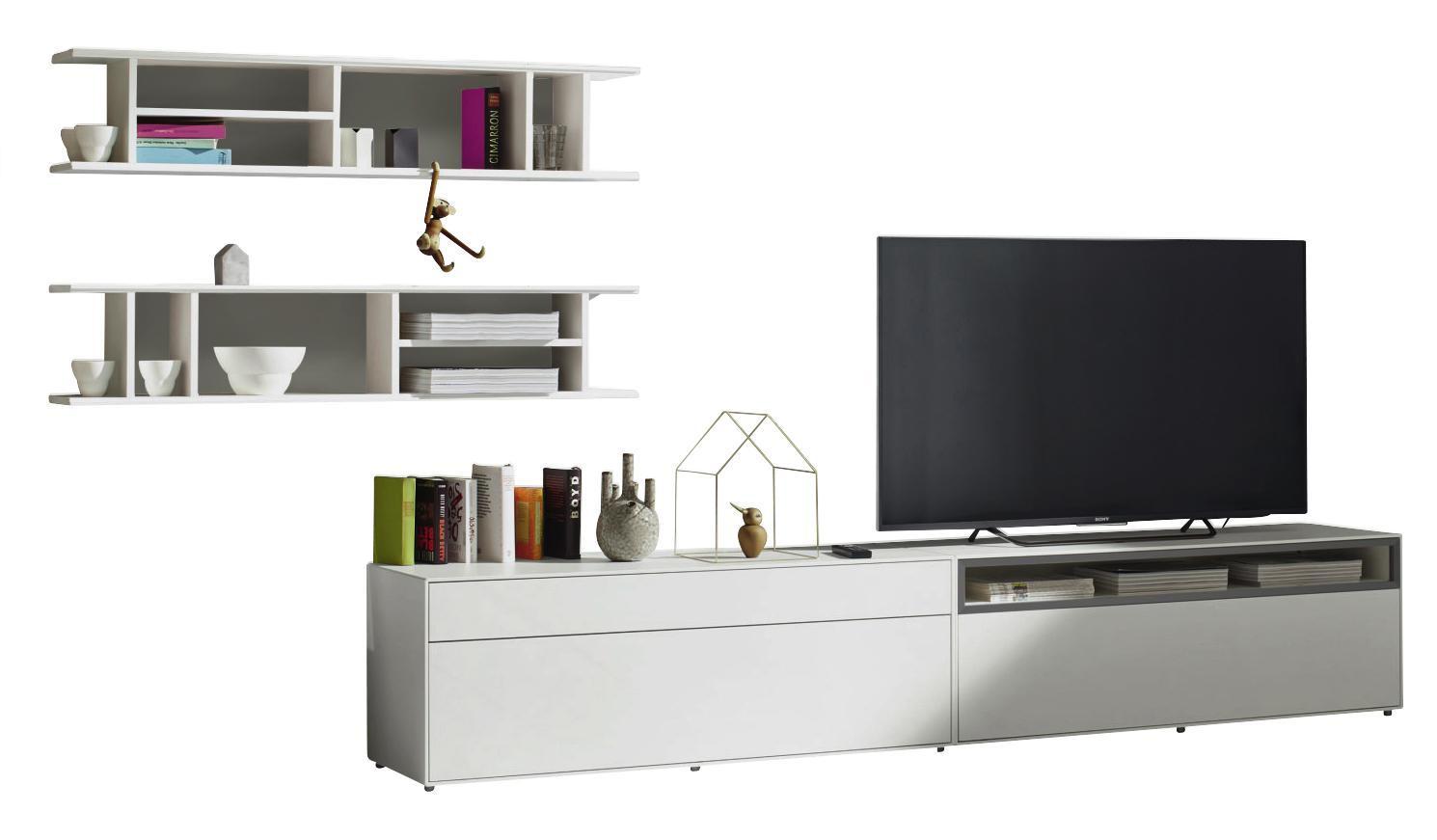 WOHNWAND Grau, Weiß   Schwarz/Weiß, Design (334/162/44