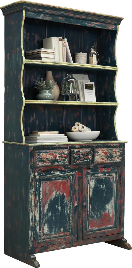 BUFFET Mangoholz massiv antik - Blau/Multicolor, Trend, Holz/Metall (100/208/50cm) - Ambia Home