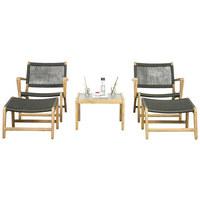 LOUNGEGARNITUR 5-teilig - Anthrazit/Akaziefarben, Design, Holz/Textil - Ambia Garden