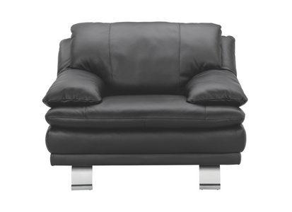 FÅTÖLJ - alufärgad/svart, Design, metall/läder (119/87/94cm) - Celina Home