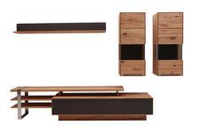 WOHNWAND Buche massiv Braun, Buchefarben  - Schlammfarben/Dunkelbraun, Design, Glas/Holz (319/185/53,7cm) - Valnatura