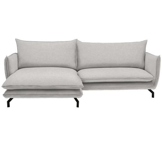 WOHNLANDSCHAFT in Textil Silberfarben - Silberfarben/Schwarz, MODERN, Textil/Metall (175/259cm) - Hom`in