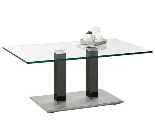 COUCHTISCH in Metall, Glas 110/70/46-65 cm - Edelstahlfarben/Grau, Design, Glas/Kunststoff (110/70/46-65cm)