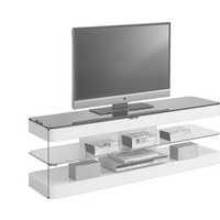 MEDIABÄNK - vit/svart, Design, glas/träbaserade material (140/45/39cm) - XORA