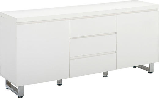KOMMODE Weiß - Chromfarben/Weiß, Design, Holz/Metall (167/74/42cm)