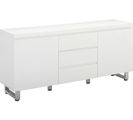 KOMMODE Hochglanz, lackiert Weiß - Chromfarben/Weiß, Design, Holz/Metall (167/74/42cm)