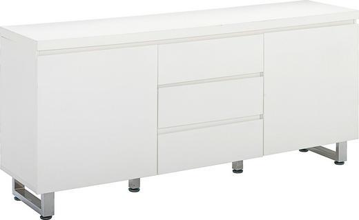 KOMODA - bílá/barvy chromu, Design, kov/dřevo (167/74/42cm)