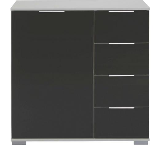 KOMMODE 81/83/41 cm - Alufarben/Schwarz, Design, Glas/Holzwerkstoff (81/83/41cm) - Carryhome