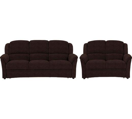 SITZGARNITUR in Textil Braun  - Schwarz/Braun, KONVENTIONELL, Kunststoff/Textil (204/98/89cm) - Beldomo Comfort