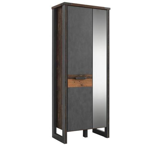 GARDEROBENSCHRANK 73/192/42 cm - Dunkelgrau/Braun, Trend, Glas/Holzwerkstoff (73/192/42cm) - Voleo