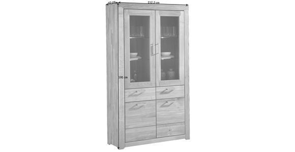 VITRINE in furniert, massiv Wildeiche Eichefarben - Edelstahlfarben/Eichefarben, KONVENTIONELL, Glas/Holz (112,2/195/40cm) - Cantus