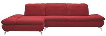 WOHNLANDSCHAFT Chenille Rücken echt, Sitztiefenverstellung - Rot/Silberfarben, Design, Textil/Metall (200/315cm) - CHILLIANO