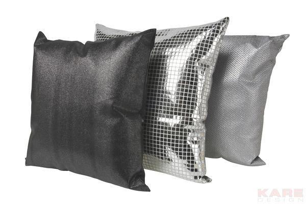 ZIERKISSEN - Anthrazit/Silberfarben, Design, Textil (42/75/23cm) - KARE-Design