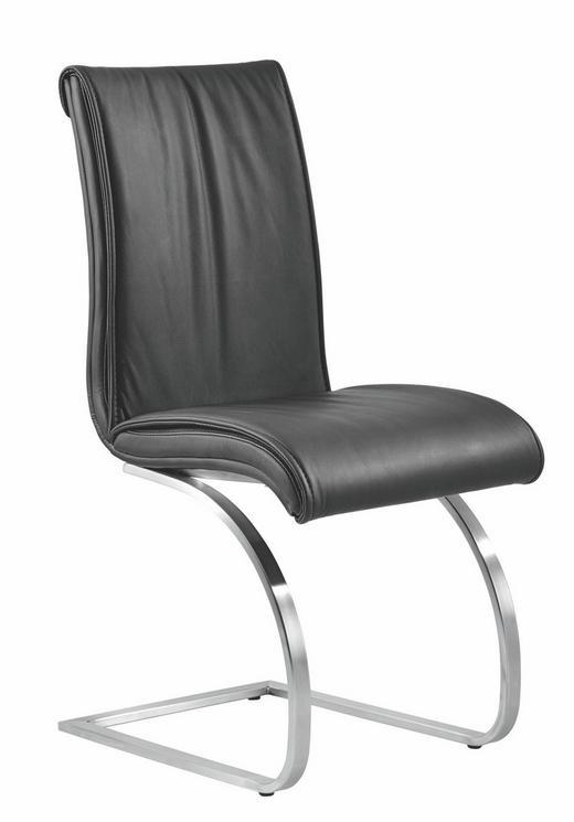 SCHWINGSTUHL Echtleder Schwarz - Schwarz, Design, Textil/Metall (44/95/56cm) - VALDERA