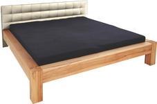 BETT 140 cm   x 200 cm   in Holz, Textil Beige, Buchefarben - Beige/Buchefarben, KONVENTIONELL, Holz/Textil (146/96/220cm) - Linea Natura