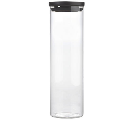 VORRATSDOSE  2 L - Klar/Schwarz, Basics, Glas/Kunststoff (9,5/31cm) - Homeware
