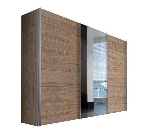 SCHWEBETÜRENSCHRANK 3  -türig Sonoma Eiche - Alufarben/Sonoma Eiche, KONVENTIONELL, Glas/Holzwerkstoff (300/216/68cm) - Hom`in