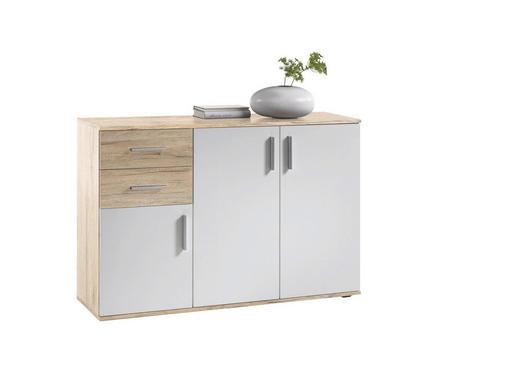 KOMMODE Eichefarben, Weiß - Eichefarben/Buchefarben, Design, Holzwerkstoff/Kunststoff (120/82/35cm) - Xora