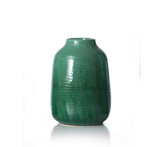 VÁZA, zelená, tmavě zelená - zelená/tmavě zelená, Konvenční, keramika (16/16/22cm) - Ritzenhoff Breker