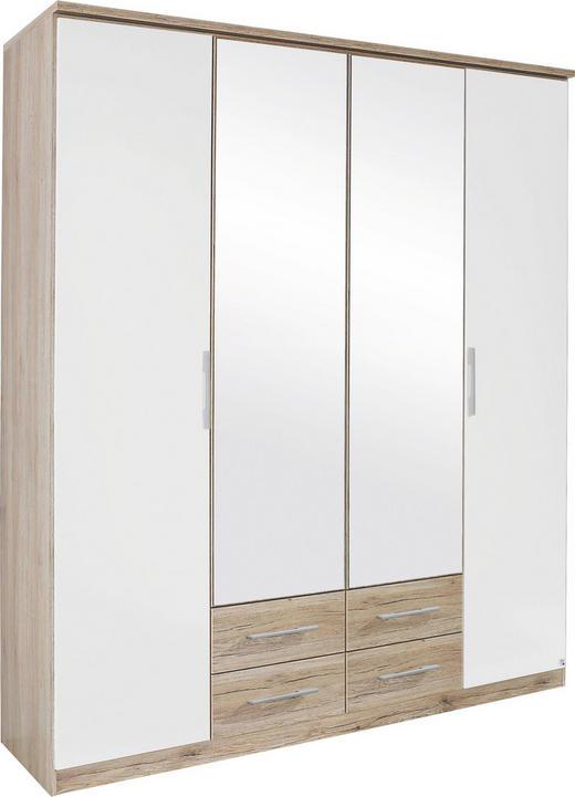 FALTTÜRENSCHRANK 4  -türig Eichefarben, Weiß - Eichefarben/Silberfarben, KONVENTIONELL, Glas/Holzwerkstoff (181/212/56cm) - BOXXX