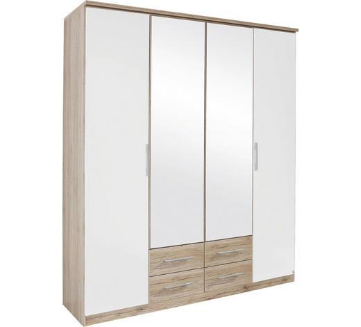 FALTTÜRENSCHRANK in Weiß, Eichefarben - Eichefarben/Silberfarben, KONVENTIONELL, Glas/Holzwerkstoff (181/212/56cm) - Boxxx