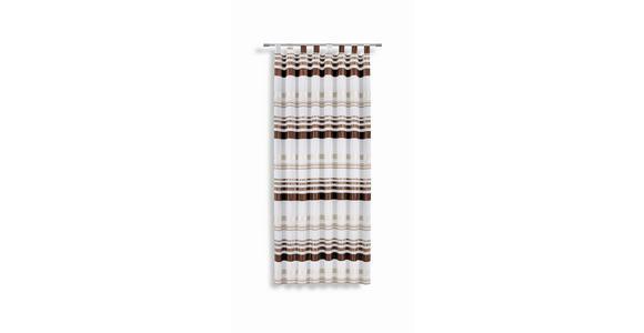 Vorhang mit Schlaufen und Band Felice B: 145 cm, Braun/Weiß - Braun/Weiß, KONVENTIONELL, Textil (145/245cm) - Luca Bessoni