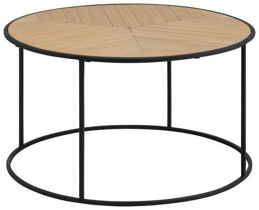 COUCHTISCH Paulownia furniert rund Naturfarben - Schwarz/Naturfarben, Design, Holz/Metall (80/45cm) - Carryhome