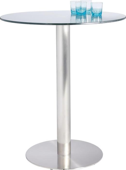 BARTISCH rund Edelstahlfarben, Grau - Edelstahlfarben/Grau, Design, Glas/Metall (90/105cm) - Dieter Knoll