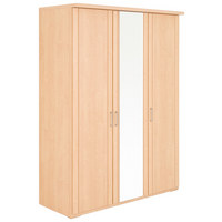 KLEIDERSCHRANK in Ahornfarben - Silberfarben/Ahornfarben, KONVENTIONELL, Glas/Holzwerkstoff (150/197/58cm) - Venda