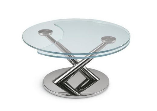 COUCHTISCH rund Chromfarben - Chromfarben, Design, Glas/Metall (80-128cm)