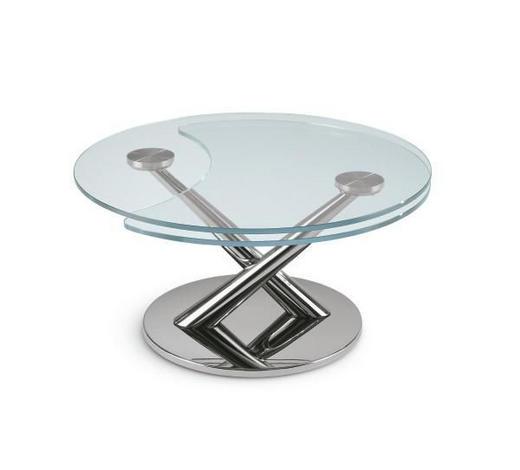 COUCHTISCH in Metall, Glas - Chromfarben, Design, Glas/Metall (80-128cm)