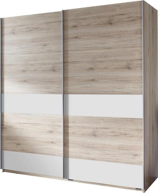 SCHWEBETÜRENSCHRANK 2-türig Eichefarben, Weiß - Eichefarben/Silberfarben, Design, Holzwerkstoff/Metall (180/198/64cm) - Carryhome