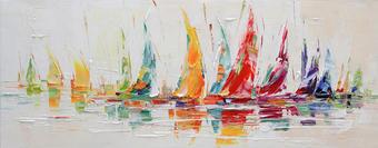 OBRAZ - Multicolor, Basics, dřevo/textil (180/70cm) - MONEE