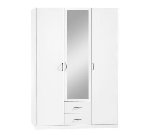 KLEIDERSCHRANK 3-türig Weiß  - Silberfarben/Weiß, Design, Glas/Holzwerkstoff (136/197/54cm) - Carryhome