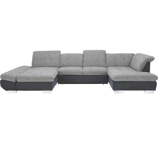 WOHNLANDSCHAFT in Textil Grau, Schwarz  - Chromfarben/Schwarz, Design, Kunststoff/Textil (204/350/211cm) - Xora