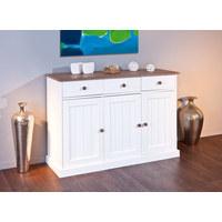 KOMMODE WESTERLAND Kiefer massiv lackiert Weiß  - Weiß/Braun, LIFESTYLE, Holz (130/86/45cm) - Carryhome