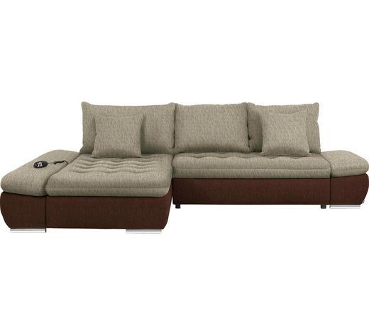 WOHNLANDSCHAFT in Textil Braun, Beige - Chromfarben/Beige, Design, Textil/Metall (200/309cm) - Hom`in