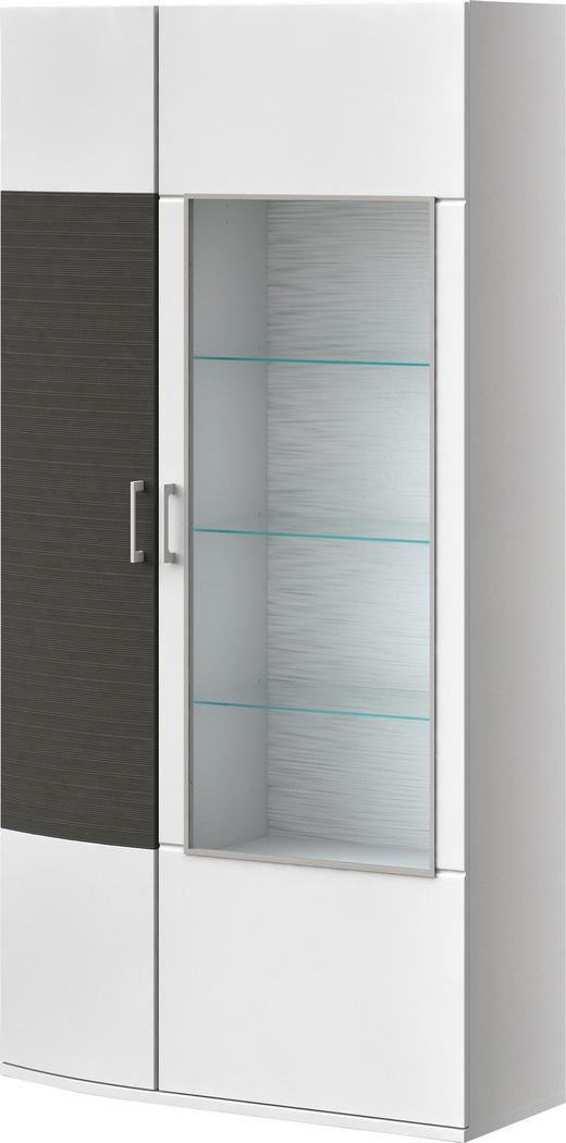 VITRINE Graphitfarben, Weiß - Chromfarben/Graphitfarben, MODERN, Glas/Kunststoff (105/205,4/40cm) - XORA