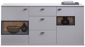 SIDEBOARD 181/86/40 cm  - Eichefarben/Hellgrau, Design, Holzwerkstoff/Metall (181/86/40cm) - Novel