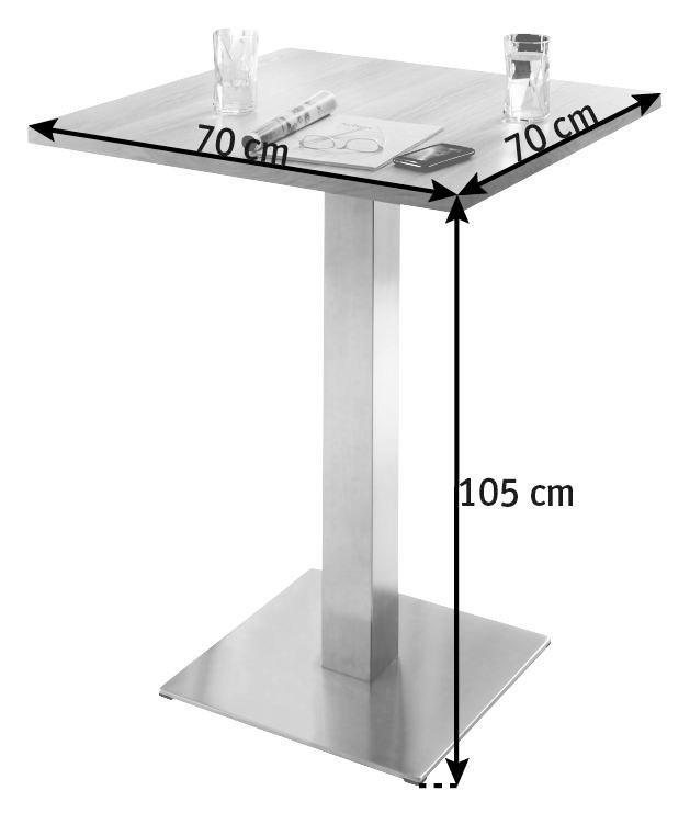 BARTISCH Eiche massiv quadratisch Edelstahlfarben, Sonoma Eiche - Edelstahlfarben/Sonoma Eiche, MODERN, Holz/Metall (70/105/70cm) - DIETER KNOLL