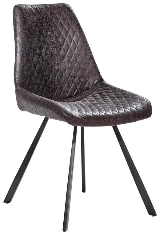 STUHL in Metall, Textil Grau - Grau, Trend, Textil/Metall (46/86/61cm) - Ambia Home