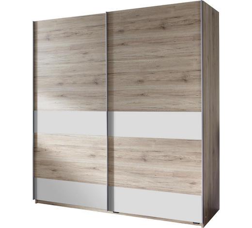 SCHWEBETÜRENSCHRANK in Weiß, Eichefarben - Eichefarben/Silberfarben, Design, Holzwerkstoff/Metall (135/198/64cm) - Carryhome