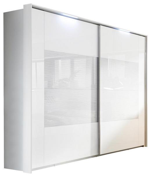 SCHWEBETÜRENSCHRANK 2-türig Weiß - Chromfarben/Weiß, KONVENTIONELL, Glas/Holzwerkstoff (270/223/69cm) - Xora